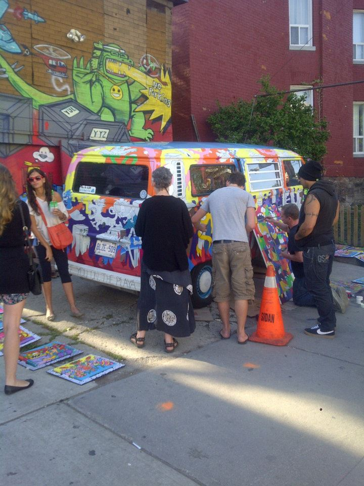 friends, family and the community help paint the van @ Pedestrian Sundays in Kensington Market