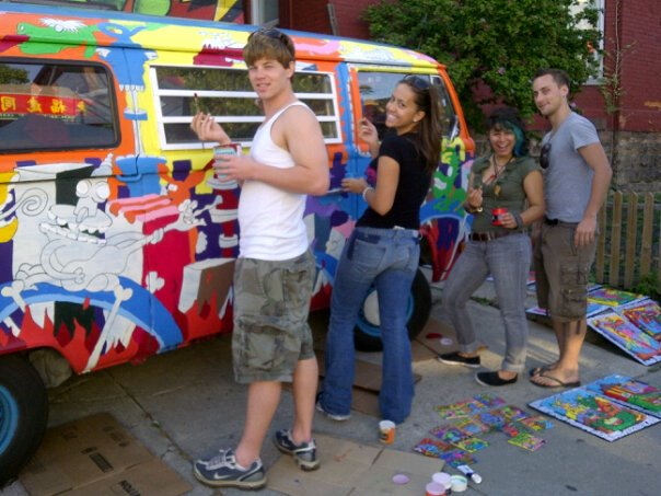 friends help paint the van @ Pedestrian Sundays in Kensington Market