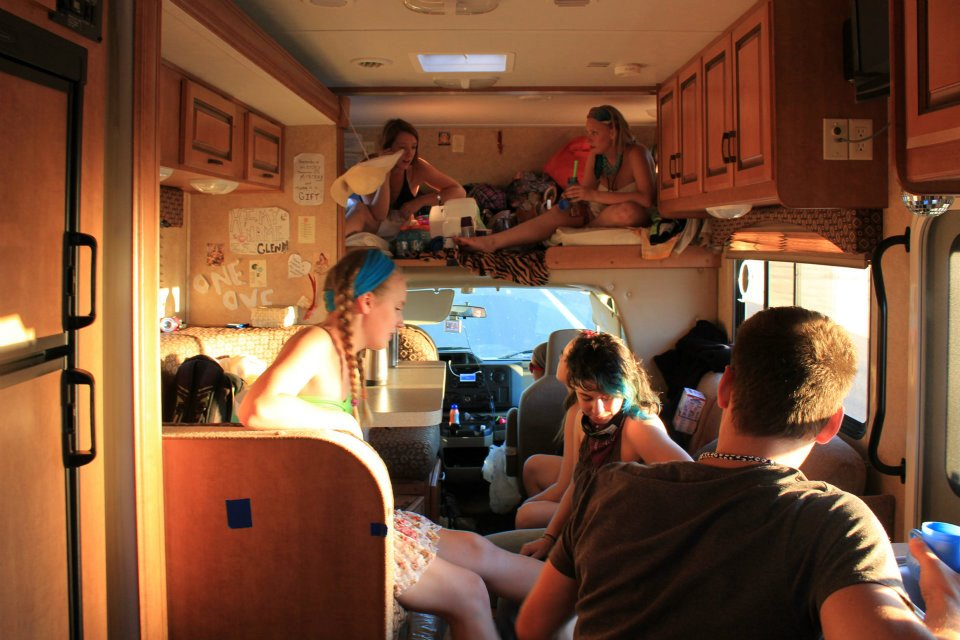 cozy in the rv, back on route to burning man