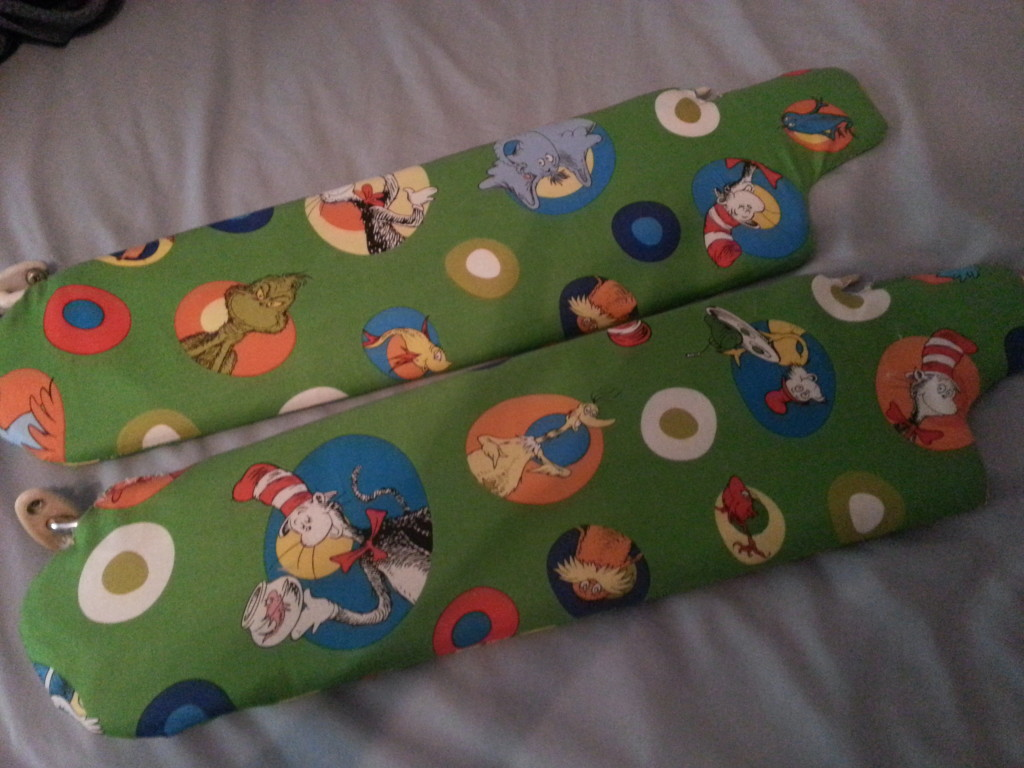 The final product of my DIY sunvisor recovering for my hippie van.