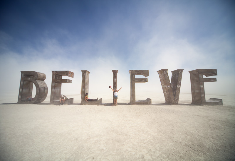 "My mom by the ""I"" in 'Believe'"