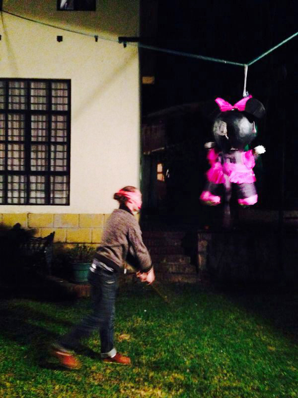 Me hitting the pinata