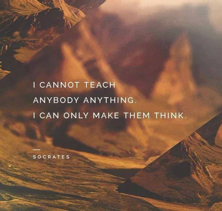 I can't teach anyone anything, i can only make them think.