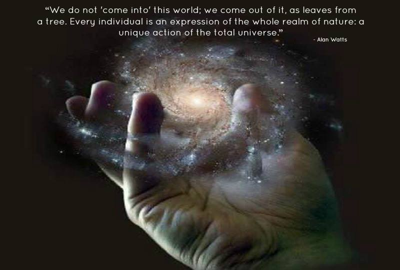 "We do not ""come into"" this world; we come out of it, as leaves from a tree. As the ocean ""waves,"" the universe ""peoples."" Every individual is an expression of the whole realm of nature, a unique action of the total universe. This fact is rarely, if ever, experienced by most individuals. Even those who know it to be true in theory do not sense or feel it, but continue to be aware of themselves as isolated ""egos"" inside bags of skin. - Alan Watts"