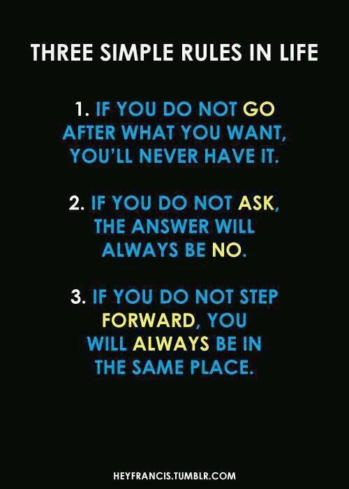 Three simple rules in life     1. If you do not GO after what you want,     You will never heave it.    2. If you do not ASK,     the answer will always be NO.    3. If you do not step FORWARD,     you will always be in the same place.