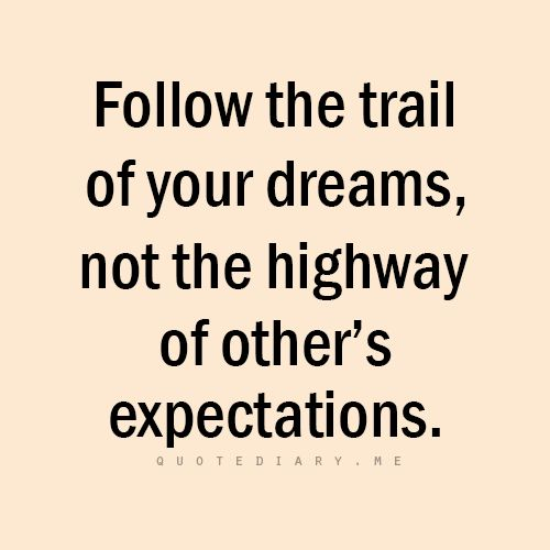 Follow the tail of your dreams, not the highway of others expectations.
