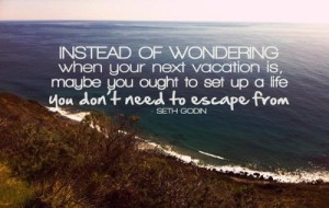 Seth Godin — 'Instead of wondering when your next vacation is, maybe you should set up a life you don't need to escape from.'