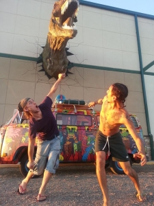 hippie van dinosaur attack