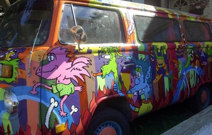 Alex Currie aka Runt's Paint Job on The Van - Hippie Van ManHippie Van Man